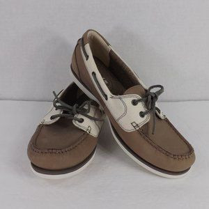 NEW Timberland Leather w White Fabric Boat Shoe 10